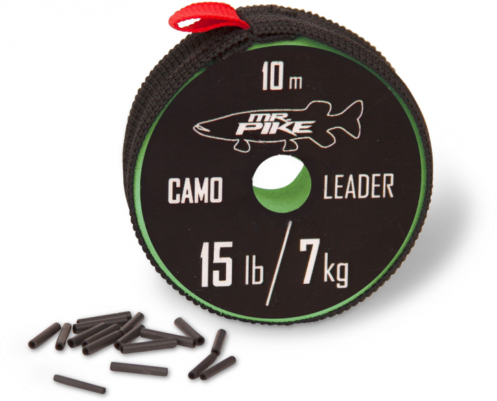 Mr. Pike Camo Coated Leader Material 10m 14kg 30lbs camo