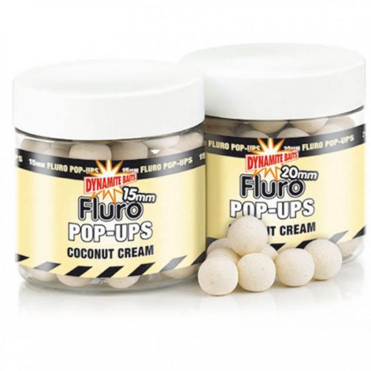 Dynamite Baits Fluro Pop Ups Coconut Cream - 15 mm