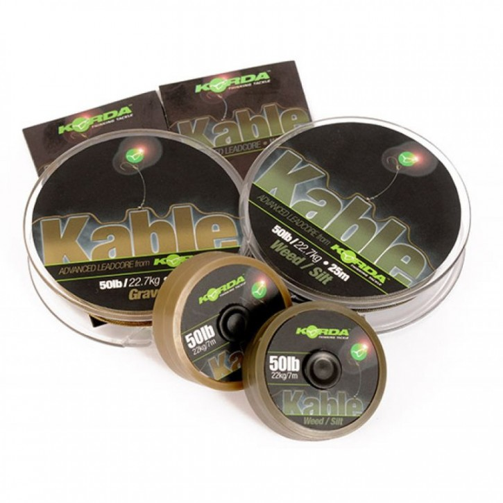 Korda Kable Leadcore 50 lb - 25 m - Gravel / Brown