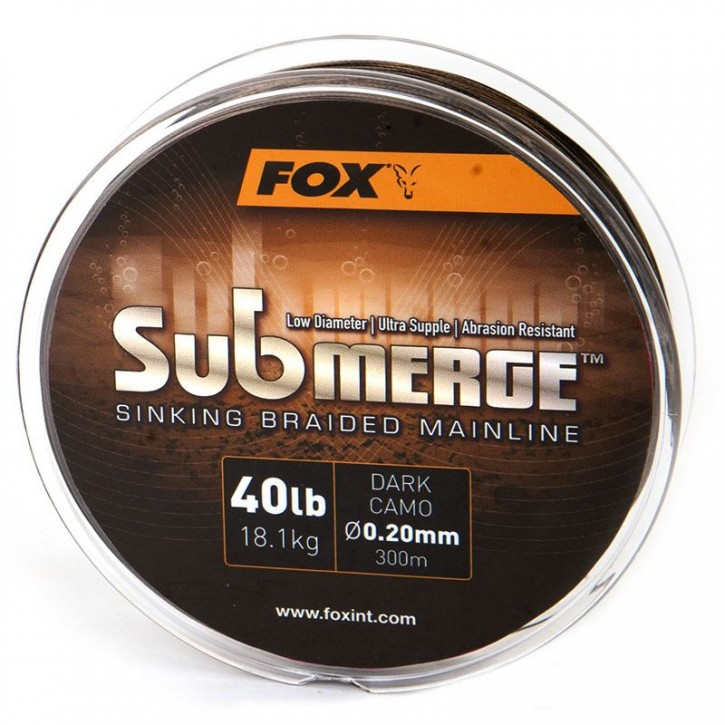 FOX Submerge Sinking Braided Mainline - Dark Camo - 600 m - 55 lb