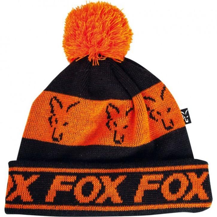 Fox Black / Orange - Lined Bobble Hat