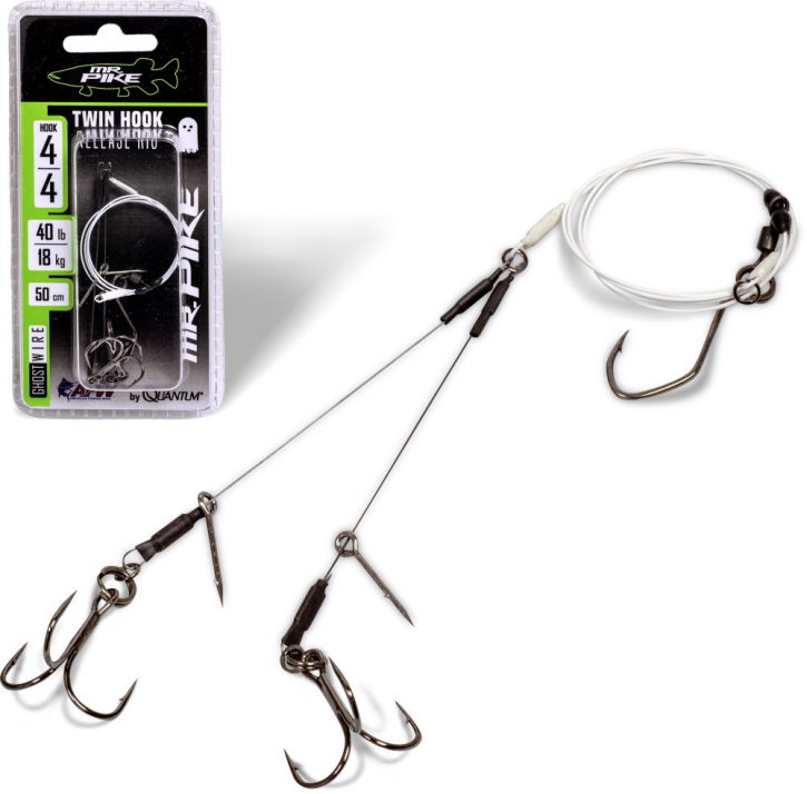 Mr. Pike Ghost Traces Twin Hook-Release-Rig weiß Gr.6/18kg